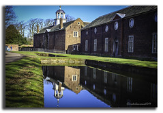 HELLO BLUE SKY IT'S BEEN A WHILE (vicki127.) Tags: trees water grass buildings reflections cheshire bluesky belltower vicki nationaltrust railings dunhammassey burrows digitalcameraclub flickraward ilovemypics canon650d ringexcellence lightroom4 vicki127 adobephotoshopcs6