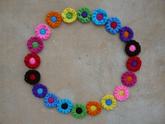 Twenty puff flowers in a circle (crochetbug13) Tags: flowers flower circle circles crochet yarn round fatbag