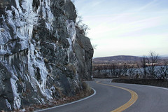 Skirting the Mountain (lefeber) Tags: road newyork ice rock rural river landscape vanishingpoint perspective hudsonriver icicles twistyroad rockwall windingroad hudsonvalley mountainroad