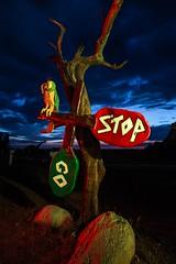 Birdomatic traffic control (Aztravelgrl (Sandra Jungling)) Tags: longexposure nightphotography arizona usa lightpainting us lowlight williams unitedstates flinstones bedrockcity