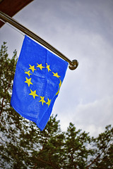 eu (Gerilla) Tags: blue light shadow yellow canon finland circle lens stars gold stainlesssteel europe european turku image zoom outdoor background steel flag flash union picture azure eu pic pole telephoto porch council l series usm 12 flagpole ef europeanunion coe stainless rst lseries onporch councilofeurope 50d euflag circleofstars gerilla eurozone telephotozoom canon50d flagofeurope canonef28300mm13556lisusm canonef28300mmlis 12goldenstars