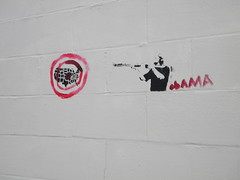 Some Obama Graffiti (Randall 667) Tags: street art america out island graffiti freedom democracy stencil killing traitor providence communist leftist socialist commie targeting shotgun dictator rhode speech selling democrat liberal obama prov destroying