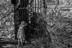 (morten f) Tags: oslo norge norway girl looking crying locked out outside outsider black white monochrone statue barn kid gitter bars