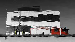 Löschwasser (Eric Spies) Tags: feuerwehr fire brigade department firefighters löschwasser water wasser spiegelung reflektion reflection mirror mirroring red rot yellow gelb blue blau grau selective selektive colors colours farben spoykanal spoy hafenkanal hafenbecken harbour canal kleve cleve cleves nrw nordrheinwestfalen niederrhein hochschule rheinwaal hafengelände fujifilm fujinon xt10 xc 1650 monochrom monochrome mono sw bw schwarzweiss blackwhite löschzug deutschland germany firewater harbor