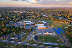 Home of the Blue Streaks (Samantha Decker) Tags: canonef24105mmf4lisusm canoneos6d ny newyork sshs samanthadecker saratogasprings saratogaspringshighschool aerial helicopter upstate