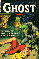 Ghost Stories Comics (kevin63) Tags: lightner scans photos women vintagecheese facebook old retro vintage fifties horror comicbook ec imitator hunchback woman red dress manhero sleepers crypt digslow spring lurid precode green hair chains lantern cobweb spider