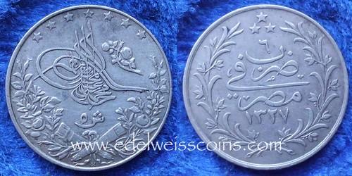 Egypt silver 1 qirsh AH1327:6 1913