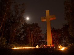 xBlues #2 at The Cross at Mt. Davidson (Scott Atwood) Tags: moon night dance cross blues wideangle crucifix christianity fusion mtdavidson starburst mountdavidson xblues thecrossatmountdavidson xblues2