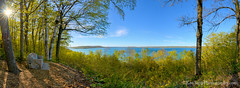Inspiration Point ... spring greens (Ken Scott) Tags: panorama usa spring michigan may lakemichigan greatlakes inspirationpoint hdr stonebench freshwater voted northmanitouisland leelanau 45thparallel 2013 bigglenlake alligatorhill sbdnl sleepingbeardunenationallakeshore mostbeautifulplaceinamerica