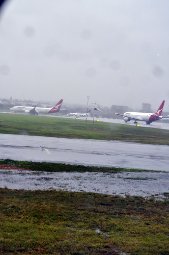 Rain on the runway