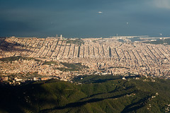 Heart of Catalonia (Dave G Kelly) Tags: barcelona travel sea vacation holiday plane flying spain aerialview catalonia espana catalunya lookingdown torreagbar catalua aerialshot arcdetriomf sagradafamilla traveldestinations 2013