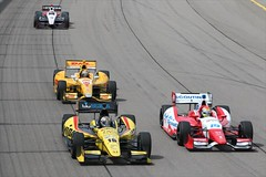 Graham Rahal and Justin Wilson go side-by-side, as Ryan Hunter-Reay follows (IndyCar Series) Tags: justinwilson ryanhunterreay grahamrahal dalecoyneracing iowacornindy250 andrettiautosport cameracanoneos1dmarkiv meteringmode5 isospeedrating800 exposure12000 fnumber101 rahallettermanlaniganracing focallength1481