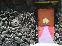 (Shane Henderson) Tags: door red orange yellow wall architecture circle triangle mural rocks colorful pittsburgh purple painted shapes northside locked mexicanwarstreets