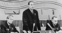 29 Mar 1966, Moscow, Russia, USSR --- Soviet Communist Party chief Leonid I. Brezhnev (C) (tommy japan) Tags: city people men war europe russia moscow communist communism few males prominentpersons government leader whites adults premier marxism russians ussr marxist europeans politicalandsocialissues middleaged middleagedman capitalcity nationalcapital easterneuropeans headofstate leonidbrezhnev soviets governmentofficial politicalleader coldwar19451991 mikhailsuslov alexeikosygin