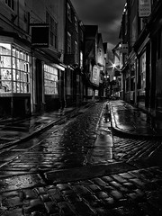 The Shambles, York - Explored 03/08/13 (mark_mullen) Tags: street york uk wet rain night dark ancient historic explore cobbles citycentre northyorkshire snickleway theshambles flickrexplore explored leafaptus flickrexplored mamiyaafdii mediumformatdigitalback markmullenphotography