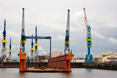 Cranes and The Dock, Hamburg Harbor (Vahan Aghajanyan) Tags: water river germany harbor dock ship crane hamburg cranes hafen elbe elb