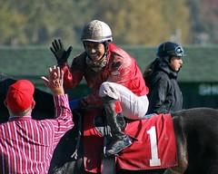 High Five (kimpossible pics) Tags: horse oregon racetrack portland jockey horseracing racehorse thoroughbred equine portlandmeadows portlandmeadowsracetrack maryjeanene leonelcamachoflores