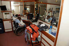 Wheelchair accessible inside cabin aboard Oceana (ChrisBrookesPhotography.co.uk) Tags: life cruise boat cabin ship julie wheelchair tripod cruising jacket user po gitzo oceana accessible pando e325 hainey
