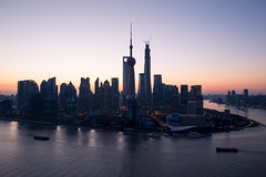 Lujiazui (Yinjia Pan) Tags: city horizontal skyline sunrise landscape photography asia cityscape shanghai aerialview landmark pudong lujiazui huangpuriver china1 orientalpearltvtower 24l 1dx canonef24mmf14liiusm eos1dx