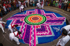 Rangoli, to welcome well being, Pune, India (sandeepachetan.com) Tags: travel india art tourism canon photography photo photographer photos indie getty 5d maharashtra procession indi indien pune chetan inde rangoli ganpati karkhanis indland  hindistan barato  ndia gan