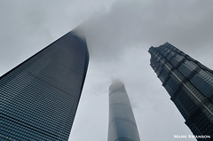 Into the Clouds (mswan777) Tags: world city travel sky color tower up fog clouds blackwhite nikon exposure shanghai pudong bund huangpu d5100