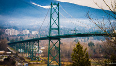 Vancouver Jan 14 - Lions Gate Bridge (Ted's photos - For me & you) Tags: bridge trafficlights mountains tower vancouver streetlights towers cables stanleypark lionsgatebridge suspensionbridge vancouverbc roadway coastsalish northshoremountains chiefdangeorge vancouvercity bridgespan bridgecables impressedbeauty cans2s tedsphotos burrardband tsleilwaututhnation burrardindianband vision:mountain=0704 vision:outdoor=0987 vision:sky=0839 lionsgatesewagetreatmentplant