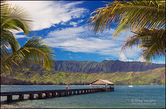 Hanalei Bay Pier (Greg Vaughn) Tags: ocean people horizontal sailboat landscape island hawaii islands bay pier couple pacific yacht scenic kauai hawaiian tropical romantic youngadult idyllic tropics hanaleibay gregvaughn 0310323a