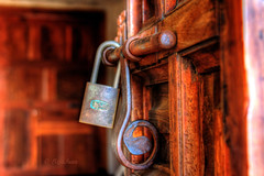 through the door... (Baja Juan) Tags: door hinge wood old building church wednesday dead happy wooden goodness high blurry san iron texas dof dynamic bokeh lock steel grain pad historic bolt mission baja antonio tones range hdr locking hbw vision:dark=0581