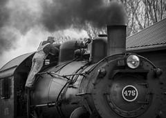 A Workin Man's Job (trainmann1) Tags: railroad bw train blackwhite nikon iron pennsylvania steel smoke engine rail loco trains stack steam pa lancaster handheld strasburgrailroad strasburg locomotive desaturated 480 nikkor lancastercounty heavy amateur steamer vignette baldwin steamengine steamlocomotive 18200mm d90 475 scenicrailroad baldwinlocomotiveworks engine475