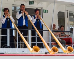 Folkloric Alphorn Trio on Board Paddle Steamer GALLIA, Lake Lucerne, Weggis, Central Switzerland (jag9889) Tags: music lake seascape schweiz switzerland boat europe suisse suiza outdoor folk swiss luzern historic alpine transportation nostalgic players musicalinstrument svizzera lucerne ch vierwaldstttersee dampfschiff lakelucerne weggis paddlesteamer alphorn 2015 innerschweiz zentralschweiz centralswitzerland gallia wggis kantonluzern cantonlucerne suizra jag9889 20150705