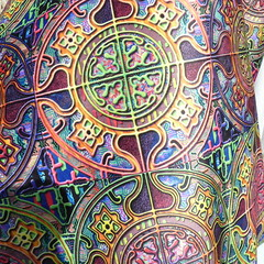 MANDALA TILES CHECK SUNNY FALL closeup Minky (paysmage) Tags: paysmage fabric spoonflower fabrics tissu minky polyester fashion upholstery apparel design designers designer decoration 3d medieval mandala multicoloured earth sunny sewing stiching seamless tiles repeat motif mosaic pattern soft textured textile texture effect print printed printondemand pod realistic