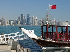 Dhow and Doha Skyline (Daniel Brennwald) Tags: doha katar qatar dhow