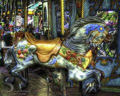 Bryant Park Colorful horse on Carousel- (Tattooed JJ) Tags: nyc ny photography pentax manhattan april bryantpark k5 grandcentralterminal singingwithlight singingwithlightphotography