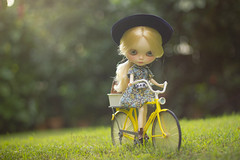 my bicycle and me (JennWrenn) Tags: bicycle yellow doll afternoon ride blythe magda matryoshkamaiden