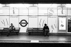 Waiting (Andrea La Rosa) Tags: street leica people bw london film analog canon underground la waiting metro kodak andrea trix tube streetphotography rosa 11 d76 1600 summicron 400 wait 50 canoscan m4 9000f