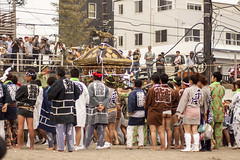 Setting down the mikoshi (rokclmb) Tags: beach festival japan tattoo japanese kamakura celebration kanagawa matsuri mikoshi zaimokuza rokclmb jessederiksen