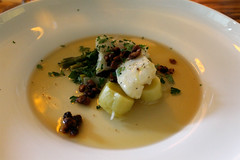 Olive-Oil Poached Halibut (Bon Eats) Tags: food fish event oliveoil parsley fennel broth halibut supperclub vermouth diningout poach boneats