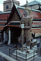 Fierce figure, Wat Phra Keo temple, Bangkok (1982) (Duncan+Gladys) Tags: thailand bangkok enhanced th