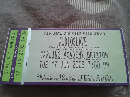 17-06-03 Audioslave - Brixton Academy Ticket