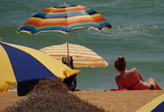 Colourful Parasols (Snowdrop500) Tags: ocean sea summer sky holiday beach portugal water sand europe atlantic algarve atlanticocean sunbathing albufeira parasols sunlounger umberellas