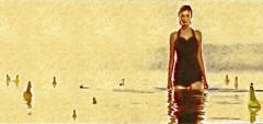Foto-pintura - Modelo na praia com garrafas / Photo-painting - Model on the beach with bottles (Valcir Siqueira) Tags: sea people woman seascape cute art praia beach water photography cool model pretty different arte bottles sweet digitalart modelo creation conceptual diferente artedigital specialeffects criao belo photopainting garrafas photopaint efeitosespeciais fotopintura