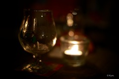 Empty... (Kym.) Tags: beer glass night candle empty thenetherlands tealight wineco photoslyrics witha theothernight cafe thenightgoeson