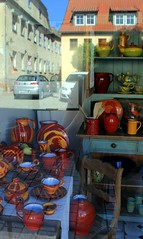Pottery shop in Römhild (:Linda:) Tags: reflection shop germany town handmade thuringia workshop pottery windowpane römhild