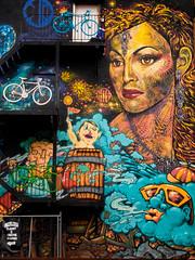 The house of colour (raspu) Tags: uk inglaterra england urban art girl mural chica arte picture bicicleta painter urbano pintor pintura