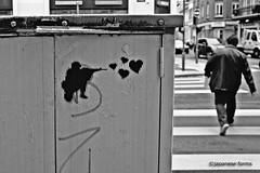 love sniper (japanese forms) Tags: street man love analog hearts graffiti stencil dof random bokeh candid graf streetphotography streetlife sniper cupid graff agfa streetshot mittelformat straatfotografie agfafilm strasenfotografie ©japaneseforms2013