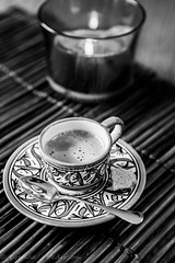 Moroccan Memories (Culinary Fool) Tags: november bw cup coffee candle spoon morocco espresso saucer 2470mm28 2013
