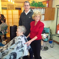 Monte stops in at Accents Hair & Gift Studio in Grand Bend as part of his Barbershop Tour to raise awareness about the trades tax.