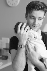 Newborn (LewisBrock) Tags: baby white black love hospital happy dad bokeh father joy young newborn nervous