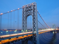 George Washington Bridge over the Hudson River, New York-New Jersey (jag9889) Tags: bridge orange ny newyork green night puente lights newjersey crossing suspension nj bridges ponte led pont hudsonriver superbowl brcke gw gwb waterway georgewashingtonbridge ledlights bergencounty othmarammann panynj portauthorityofnewyorkandnewjersey k007 vision:outdoor=0989 vision:sky=0833 broncoorange seahawkgreen