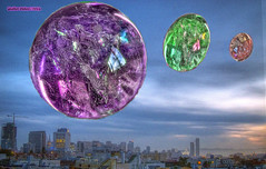 National Bubble Day, HDR Montage (Walker Dukes) Tags: sanfrancisco california pink blue sky urban orange cloud black green art clouds photoshop canon ball landscape cityscape purple crystal photograph sfbayarea trippy 4thdimension photomatix abigfave altereduniverse canons95